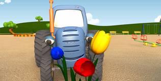 Синий трактор на детской площадке - 1 серия. Подарок