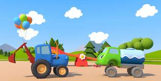 Синий трактор на детской площадке - 6 серия. Воздушные шарики