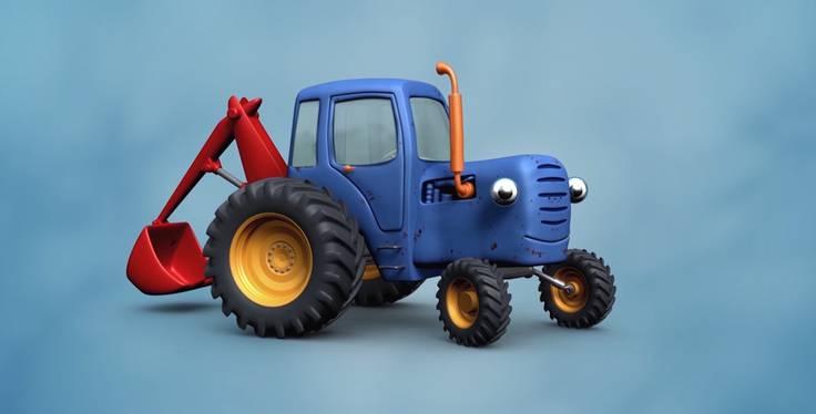 Синий трактор на детской площадке. Трейлер